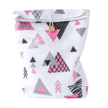 Greeny textil ajándéktáska, gombos, rózsaszín háromszöges