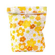 Greeny textil ajándéktáska, gombos, sárga virágos