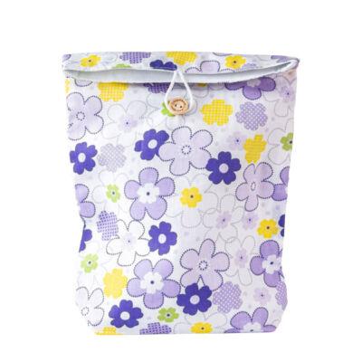 Greeny textil ajándéktáska, gombos, lila virágos