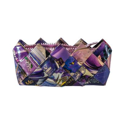 Greeny táska tapétából, rózsaszín-lila mintás