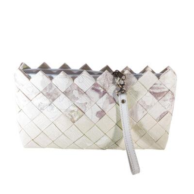 Greeny táska tapétából, ekrü rózsaszín berakással, füllel